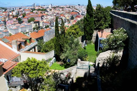 o jorge: View from Sao Jorge Castle is a Moorish castle occupying a commanding hilltop overlooking the historic centre of the Portuguese city of Lisbon and Tagus River.