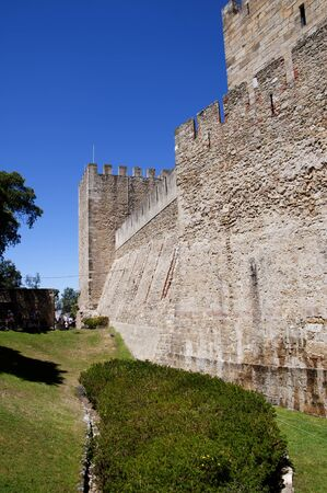 the tagus: Sao Jorge Castle is a Moorish castle occupying a commanding hilltop overlooking the historic centre of the Portuguese city of Lisbon and Tagus River.