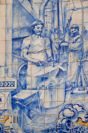adorning: The ceramic tiles of Portugal are world famous adorning buildings and walls all over the city of Lisbon