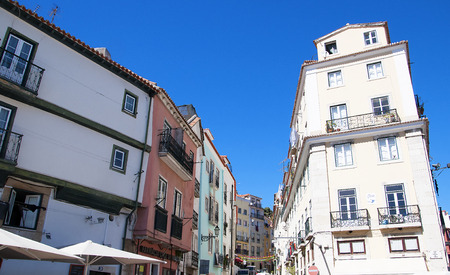 brenda kean: Steep Narrow Streets in  the old Alfama District of the city of Lisbon Portugal