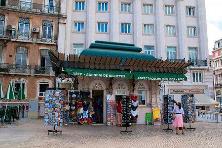 kiosk: Kiosk outside Main Train Station in Lisbon Portugal Editorial
