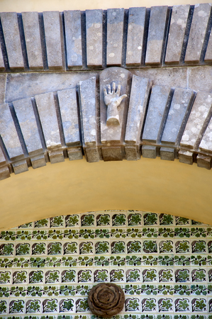 pena: Palacio da Pena in Sintra is a wild fantasy of domes,towers,crennelations and ramparts approached from a drawbridge that does not draw.