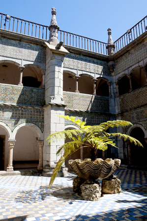 approached: Palacio da Pena in Sintra is a wild fantasy of domes,towers,crennelations and ramparts approached from a drawbridge that does not draw.