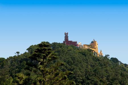 sintra: Moorish Castle above Sintra in the Hills above Lisbon Portugal