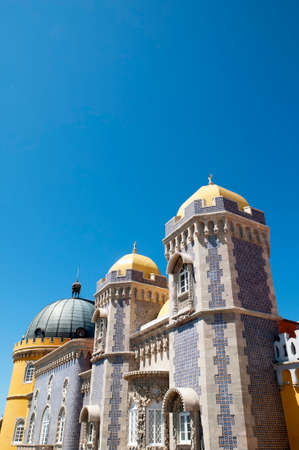 approached: Palacio da Pena in Sintra is a wild fantasy of domes,towers,crennelations and ramparts approached from a drawbridge that does not draw