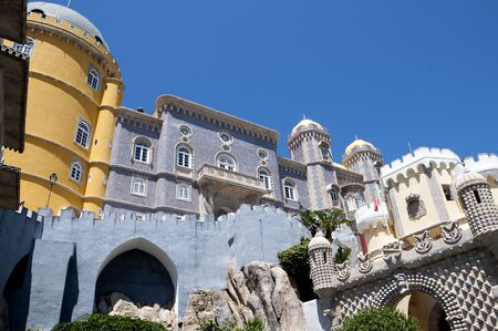 approached: Palacio da Pena in Sintra is a wild fantasy of domes,towers,crennelations and ramparts approached from a drawbridge that does not draw. This fantastical place was built in 1840 Editorial