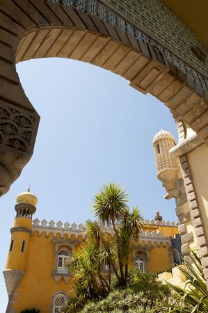 pena: Palacio da Pena in Sintra is a wild fantasy of domes,towers,crennelations and ramparts approached from a drawbridge that does not draw