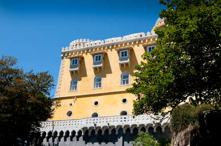 drawbridge: Palacio da Pena in Sintra is a wild fantasy of domes,towers,crennelations and ramparts approached from a drawbridge that does not draw
