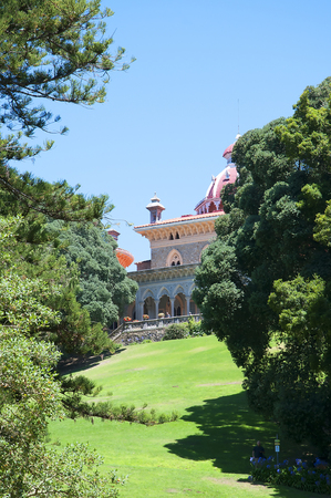 palatial: The Monserrate Palace Portuguese: Palcio de Monserrate is an exotic palatial villa located near Sintra, Portugal, the traditional summer resort of the Portuguese court