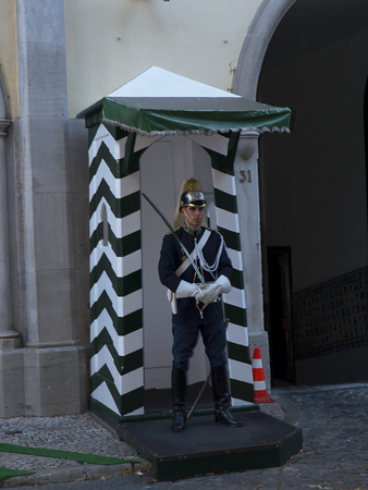 barracks: Guard at the Barracks in Carmo Square Lisbon in Portugal