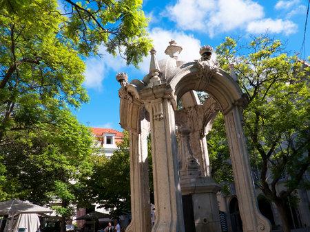 carmo: Water Fountain in Carmo Square in Lisbon Portugal