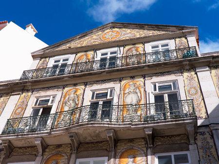 baixa: Ornate Building in the Baixa District in Lisbon Portuga