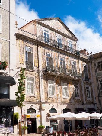 baixa: Ornate Building in the Baixa District in Lisbon Portugal