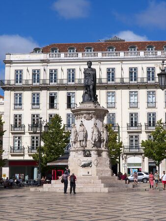 lyrical: Statue of the poet in the Praca de Camoes In Lisbon Portugal Editorial