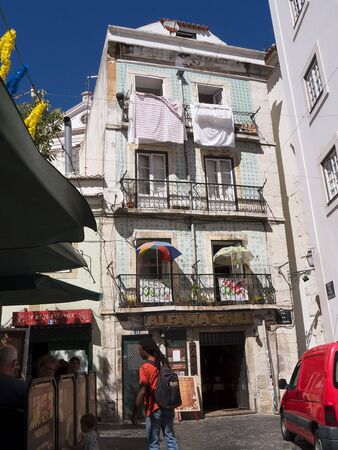 brenda kean: Cafe in the Alfama District of Lisbon in Portugal