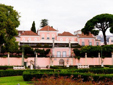 belem: Pink Presidential Palace in Belem Lisbon Portugal
