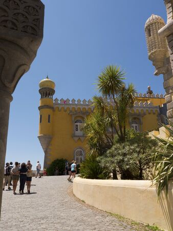 drawbridge: Palacio da Pena in Sintra Portugal is a wild fantasy of domes,towers,crennelations and ramparts approached from a drawbridge that does not draw. This