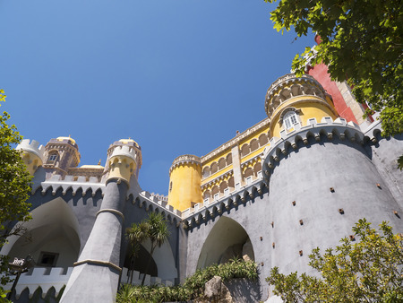pena: Palacio da Pena in Sintra Portugal is a wild fantasy of domes,towers,crennelations and ramparts approached from a drawbridge that does not draw. This