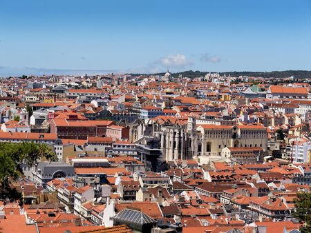 carmo: View over the city of Lisbon with the Carmo Convent Ruins in the centre