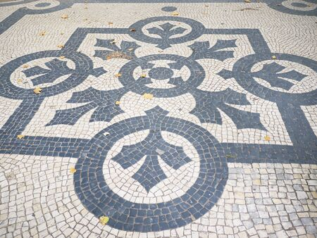 mosaic floor: Mosaic Floor in the Avenide de Liberdade in Lisbon Portugal Stock Photo