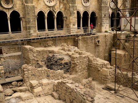 excavations: Excavations at the Patriarchal Cathedral of St. Mary Major or Lisbon Cathedral known as the Se in Portugal