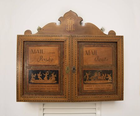 marquetry: Postbox in the old Sorrento Craft of marquetry in Italy