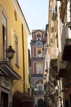 sorrento: The belltower of the Cathedral in Sorrento Ialy Editorial