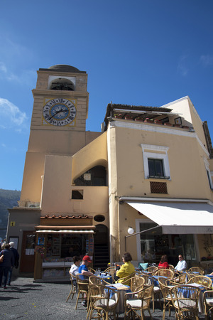 clocktower: Clocktower in the Main Square on the island of Capri Italy Editorial