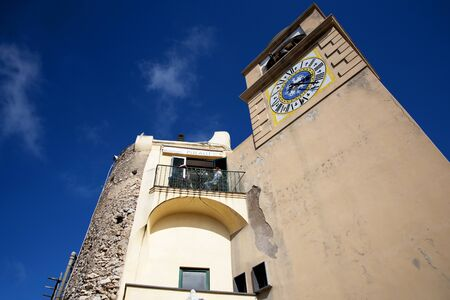 clocktower: The Clocktower in Capri Town on the Island of Capri Italy Editorial