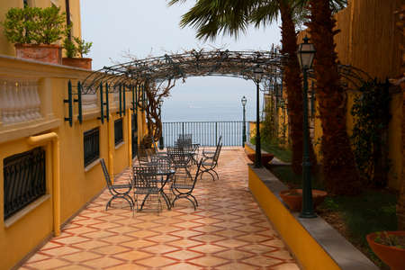sorrento: Terrace overlooking the bay of Naples in Sorrento Italy