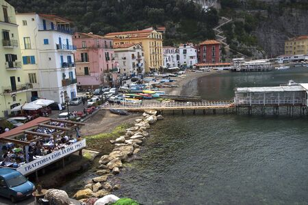 marquetry: The old town of Sorrento going down into the original fishing harbour of Marina Grande in Sorrento