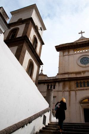 positano: Cathedral Tower in Positano Italy Editorial