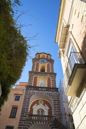 marquetry: The Belltower of the Cathedral of Sorrento Campania Italy Editorial