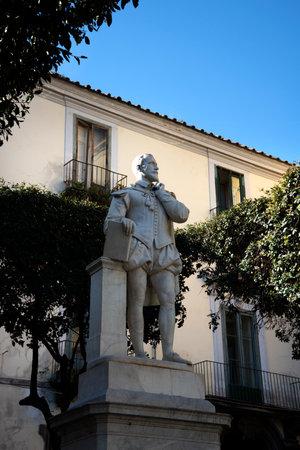 marqueteria: Statue of the poet Torquato Tasso in Piazzo Tasso Sorrento Italy