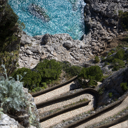 augustus: The Krupps path down to the beach from the Gardens of Augustus on the island of Capri Italy