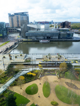 lowry: The Salford Quays was once Manchesters Docklands but now it hosts MediacityUK,the Lowry Theatre and the Imperial War Museum North with Metro Link Trams