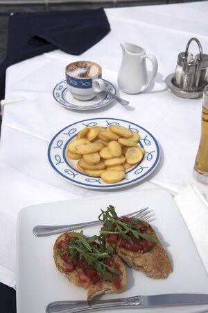 sorrento: Bruschetta and snacks in Restaurant in Marina Grande Sorrento Italy