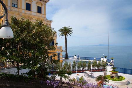 sorrento: Hotel Terrace  overlooking the sea in Sorrento Italy and Mount Vesuvius