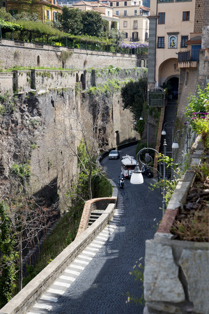 sirens: The Gorge down to the port in Sorrento Italy