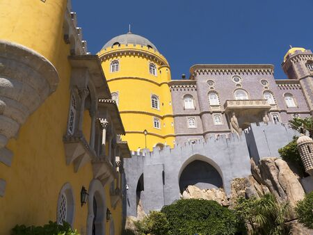 fantastical: Palacio da Pena in Sintra Portugal is a wild fantasy of domes,towers,crennelations and ramparts .This fantastical place was built in 1840