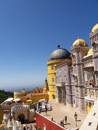 pena: Palacio da Pena in Sintra Portugal is a wild fantasy of domes,towers,crennelations and ramparts .This fantastical place was built in 1840