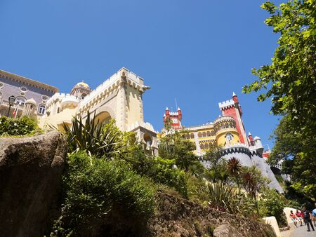 fantastical: Palacio da Pena in Sintra in the Hills above Lisbon in Portugal
