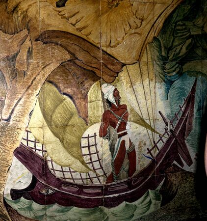 sirens: Ceramic  Tiled image of The sirens trying to lure Ulysses and his sailors to their deaths on the island of Capri