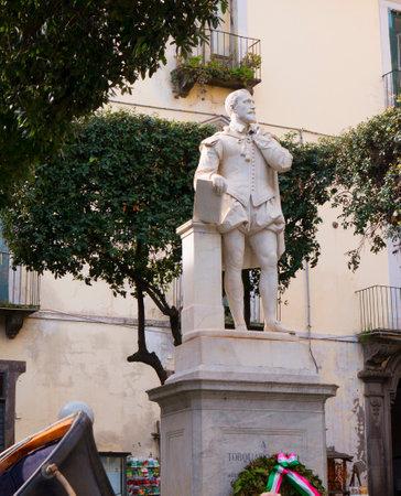 sirens: Statue of the poet Torquato Tasso in the Piazza Tasso in Sorrento Italy