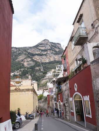 steinbeck: Main street down to the beach in Positano Italy