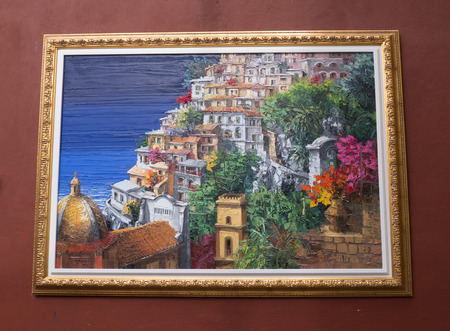 positano: Painting in the street in Positano Italy
