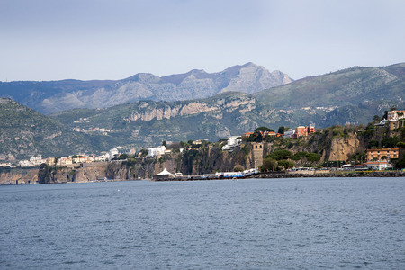 approached: Sorrento approached from the sea in Campania Italy Stock Photo