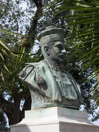 bust: Bronze bust in public park i Sorrento Italy