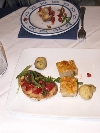 sorrento: Bruschetta appetisers in Marina Grande Sorrento italy