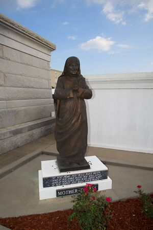 Mother Teresa: Mother Teresa Statue in one of the above ground Cemeteries in New Orleans Louisiana USA